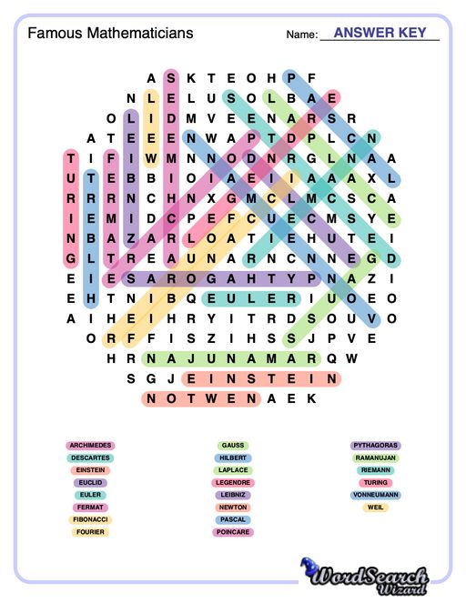 Famous Mathematicians Word Search Puzzle