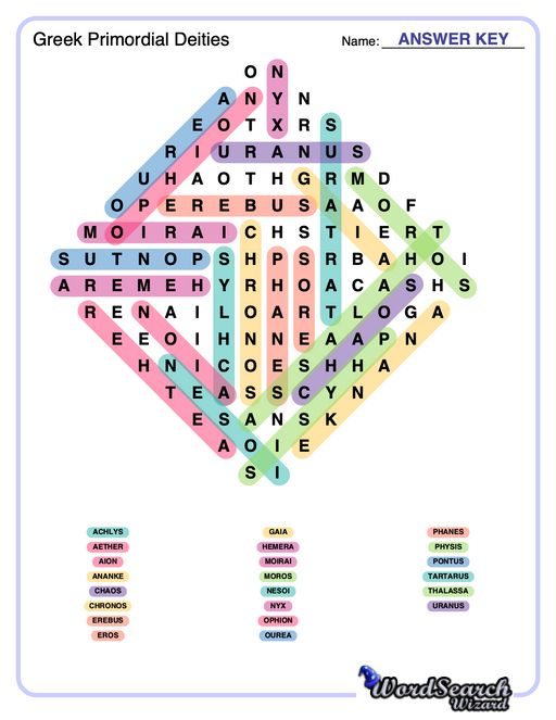 Greek Primordial Deities Word Search Puzzle